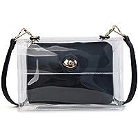 Mode 2 en 1 bolso de hombro de cadena de jalea bolso transparente bolso de natación impermeable bolsas de cosméticos de PVC transparente (blanco) para niña dama ( Color : Black , tamaño : 26x7x18cm )