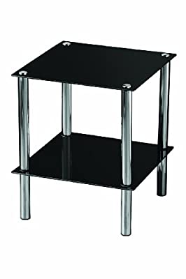 Premier Housewares End Table with Black Glass Shelves and Chrome Frame