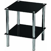 Premier Housewares - Mesita auxiliar cuadrada con 2 estantes de cristal negro y patas cromadas, 39 x 39 x 47cm