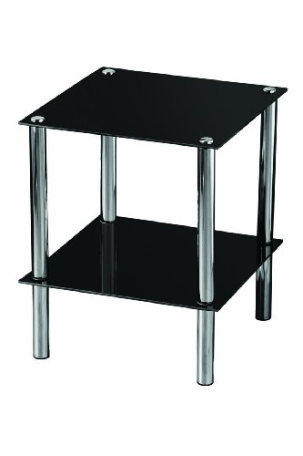 Premier Housewares 2 Tier End Table With Black Glass Shelves And Chrome  Frame
