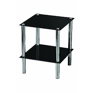 Premier Housewares – Mesita Auxiliar Cuadrada con 2 estantes de Cristal Negro y Patas cromadas, 39 x 39 x 47cm
