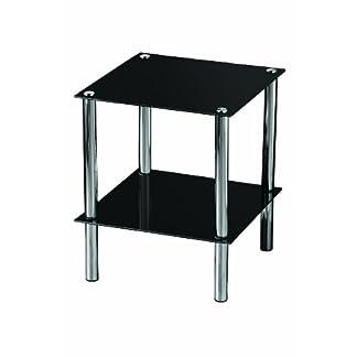 Premier Housewares–Mesita Auxiliar con Negro estantes de Vidrio y Estructura cromada