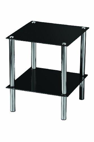 Premier Housewares Beistelltisch 2-stöckig, Fächer aus schwarzem Glas, Chrom-Rahmen, 47 x 39 x 39 cm - Chrome Moderne Beistelltisch
