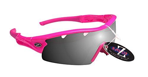 RayZor Liteweight UV400Pink Sports Wrap Running Sonnenbrille, 1PCE belüftet Smoked verspiegelt antireflektierende Linse