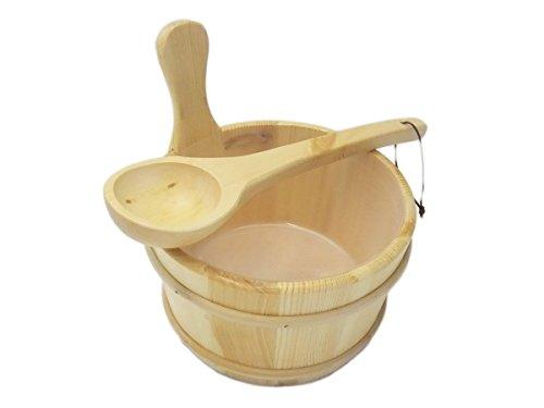 Standart Saunakübel und Kelle mit Auslaufschutz - Saunaeimer Saunaset Saunazubehör