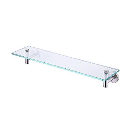 UMI. 50,8 cm Glasablage Badezimmerregal mit 8 mm dickem gehärtetem Glas und gebürstetem Nickel rostfreie Metallhalterung Wandhalterung, rechteckig, A2021-2 -