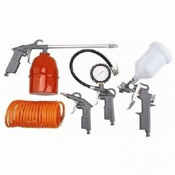 Preisvergleich Produktbild Scheppach Zubehör für Kompressor 5-teilig Spiralschlauch Druck-Lackier-Sprüh und Luftdruckpistole, 3906101704