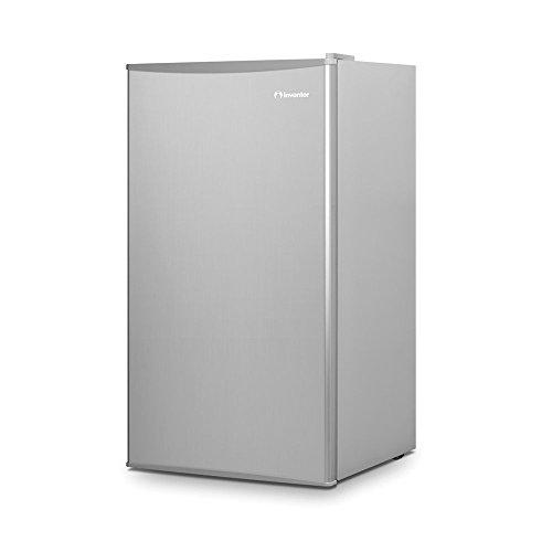 Inventor Mini-Kühlschrank 93L, Energieklasse A++, Lagervolumen 93L, Energieverbrauch 80 kWh/Jahr, wechselbarer Türanschlag, Höhe 86,0 cm, Farbe: Silber