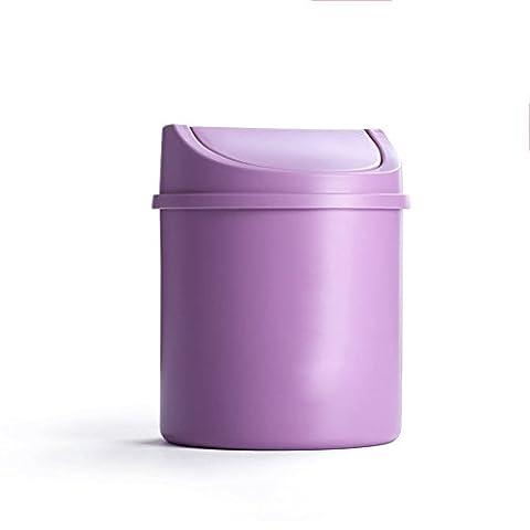 LYL Creative Desktop Trash Can Lid Mini Living Room Bedroom Bedside Creative Small House Trash (13.5 * 16.5cm) ( Couleur : Violet )