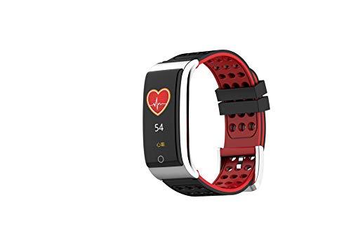 Intelligentes Armband,Neue E08 Farbdisplay intelligente EKG-Armband EKG + PPG Herzfrequenz Blutdruck Übungsschritt wasserdicht,Telligentes Armband Zum -BlackRed