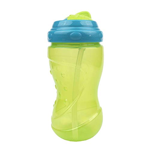 Easy Grip Cup (Basilic Baby/Toddler Non Spill Easy Grip Spin and Sippy Cup with Straw, 12 ounce (green/blue))