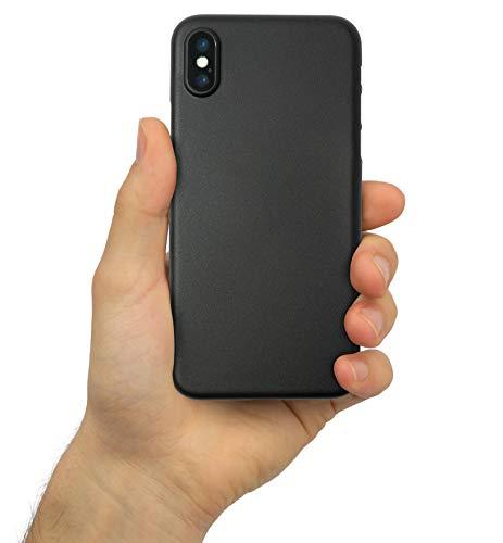 chutzhülle für [iPhone XS 5,8 Zoll] Leicht, Stoßfest, Fein-Matt [Ultra Dünn 0,3mm] Sturz und Kratzfest [Anti-Fingerabdrücke] Hardcase, Slim-Cover, Bumper [Night Black- Schwarz] ()