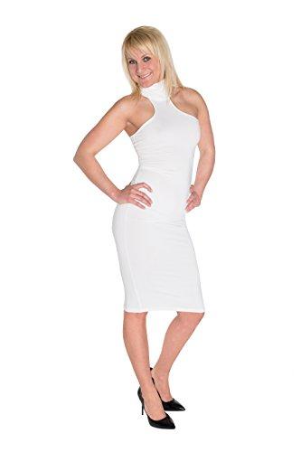 HO-Ersoka caso Midi abito classico stand-up collare senza spalline elastiche Bianco