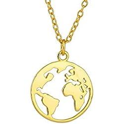 Goldkette Damen mit Weltkarten Anhänger von BRANDLINGER Damen Schmuck. Kette Damen aus 925 Sterling Silber mit 14 Karat Goldplattierung. Kettenlänge 40+5cm (extra). Designed in Deutschland (Gold)