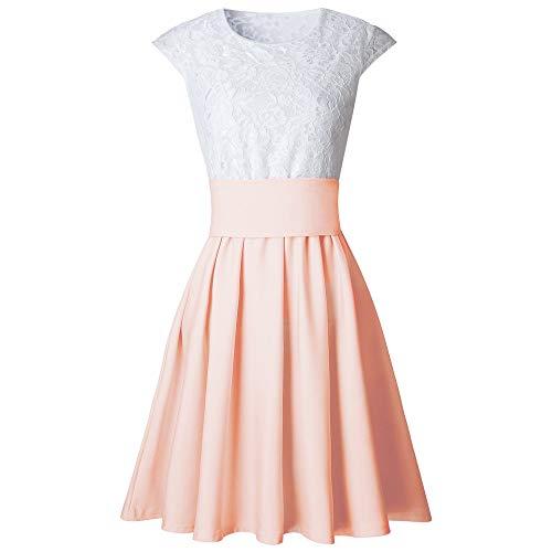 IZHH Damenmode Kleider, Spitze Party Cocktail Mini Dress Große Explosive Sommer Kurzarm Skater Mini Dress Karneval Ostern (Khaki,XL)