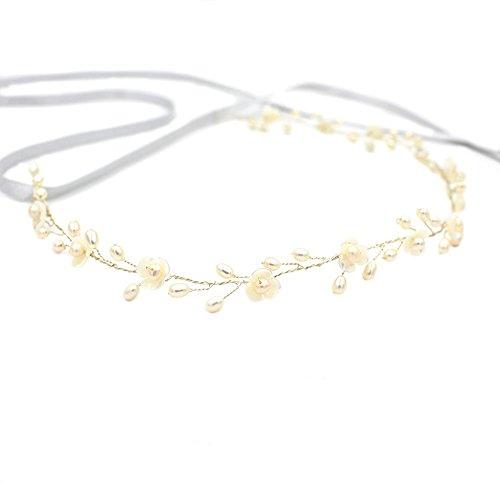 Pearl Hochzeit Haarband oumoutm Stirnband Vine, mit Bänder, Bridal Tiara Shell Blumen Genickstück