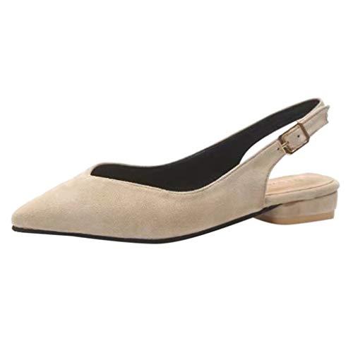 Yvelands Damen einzelne Schuhe Mode-Feste Spitze Zehe-Schnalle Slingbacks Kausale (Beige,35)