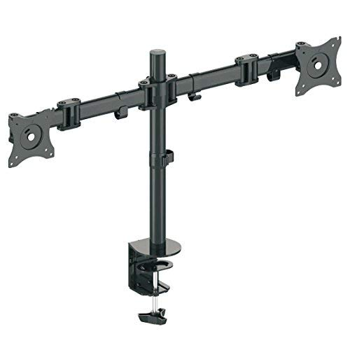 """deleyCON Universal DUAL Monitor Tischhalterung - 10"""" bis 29"""" Zoll (25cm-74cm) - bis je 8Kg - max. VESA 100x100mm - Neigbar + Schwenkbar - für 2 Monitore"""