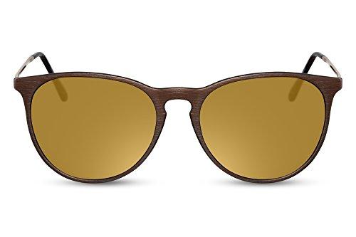 e Rund-e Braun-e Designer-Brille UV-400 Lichtschutz Metall Damen Herren ()