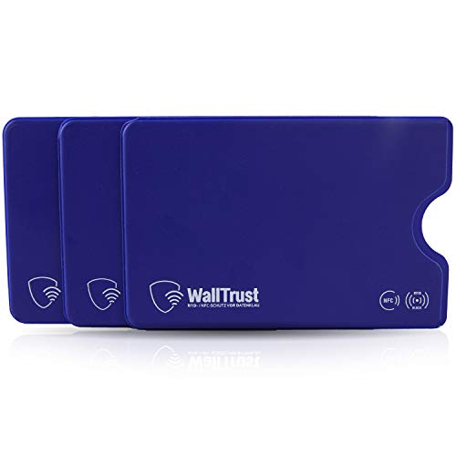 WallTrust RFID- / NFC-Schutz vor Datenklau WallTrust RFID Schutzhülle für Kreditkarten, Plastik, TÜV, 3er Set, Blau