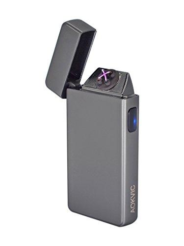 Aokvic Neues USB elektronisches Feuerzeug aufladbar lichtbogen (Silber)