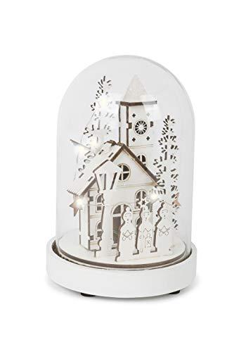 Small Foot Leuchtglocke Winterdorf mit LED-Beleuchtung, aus feinem Holz gearbeitete Winterlandschaft unter einer Glasglocke mit Holzfuß, Weihnachtsdeko Dekoartikel, weiss