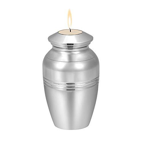 Winpavo Urne Urnen Anhänger Sie Können Kerzen Anzünden - Edelstahl-Mini-Glas Begräbnisurne Ash Keepsake Casket Pet Human Memorial Medaillon, Silber -