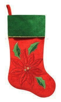 20 Red Velveteen Sequined Poinsettia Christmas Stocking with Green Cuff