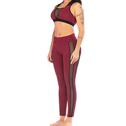 iYmitz Damen Elastic Leggings and Tops Frauen Perspektive Yoga Kapuzen Weste Hose Sport Fitness Sets(rot,EU-40/CN-XL)
