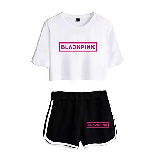 WEY Mode T-Shirt Kurze Hose 2 Stücke Einstellen Hiphop Blackpink Gedruckt Fitness Tragen Zum Frau Und Mädchen Trend Freizeit/Weiß/XS