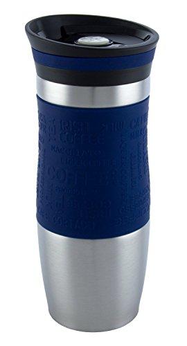 Vakuumisoliert Hervorragende Qualität Thermobecher Travel mug Für Kaffee oder Tee Rostfreier Stahl Thermosflasche Doppelwandig Ein Hand öffnen (400 ml, Blau) - Vertikale Stahl-flüssigkeit