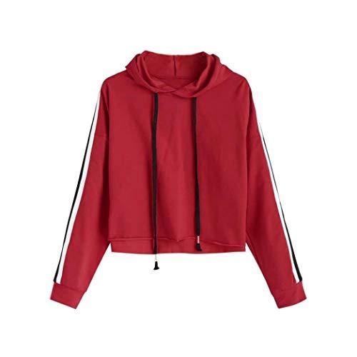 TWIFER Striped Crop Hoodie Pullover mit Kapuze Sweatshirt Langarm Pullover Tops