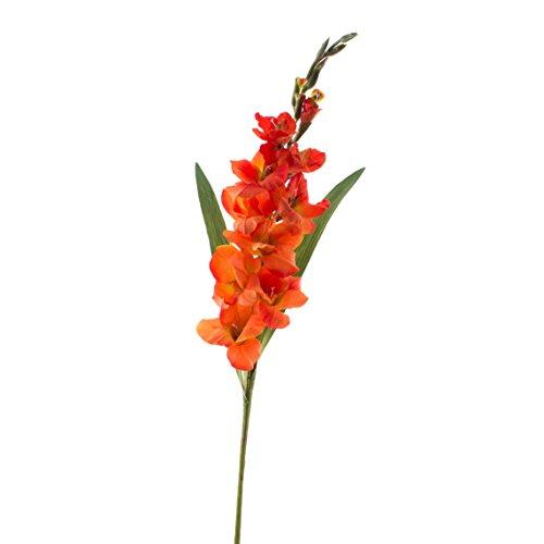 artplants Set 3 x Künstliche Gladiole orange, Deluxe, 100 cm, Ø 1-12 cm – 3 Stück – Kunstblume/Kunstpflanzen
