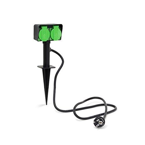 Relaxdays 10020125 Gartensteckdose 2-fach Verteiler mit Erdspieß HBT ca. 35 x 11 x 6,5 cm Steckdose für den Garten ca. 130 cm Kabellänge Stromverteiler spritzwassergeschützt IP44, schwarz-grün