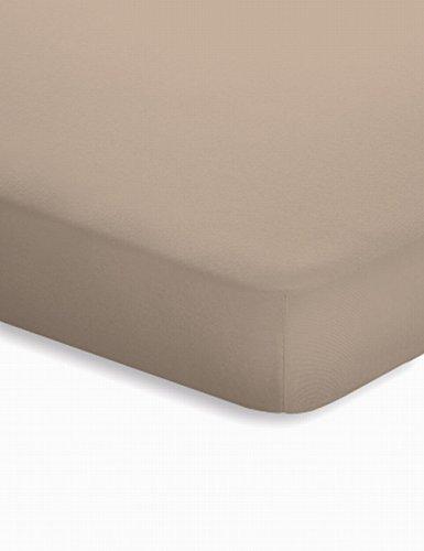 Schlafgut Jersey-Elasthan Topper Spannbetttuch Baumwoll-Mischgewebe taupe 220 x 200 cm
