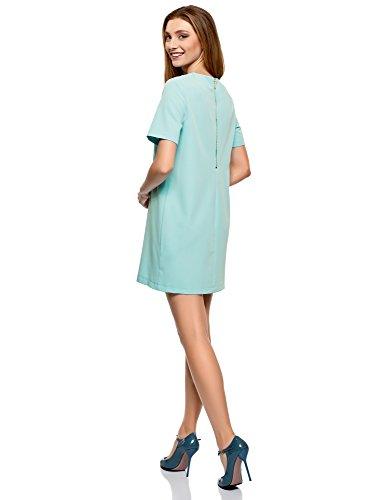 oodji Collection Damen Gerade Geschnittenes Kleid mit Reißverschluss Türkis (7300N)