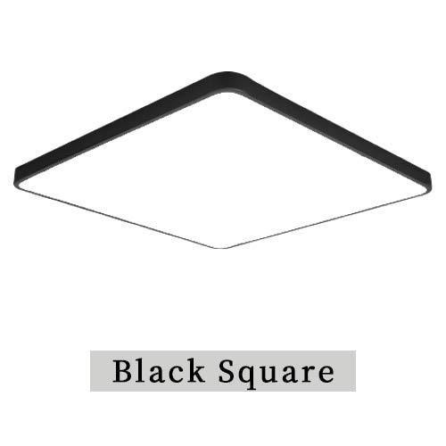 LED-Kronleuchter-modernes rundes Hauptfernsteuerungsluxus für Wohnzimmer Schlafzimmer-Studie 220V an der Oberfläche befestigte Beleuchtungsbefestigung, schwarzes Quadrat, 50cm 50cm, RC Dimmable -