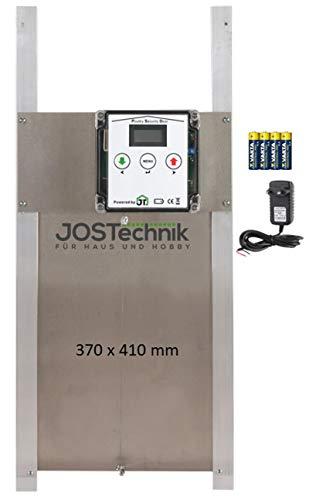 JOSTechnik Poultry Security Door PSD-RB als Rahmengerät mit selbstverriegelnder Bio Hühnerklappe 370 x 410 mm und echter Nothaltfunktion für Batteriebetrieb oder Netzteil, mit Zeitschaltuhr
