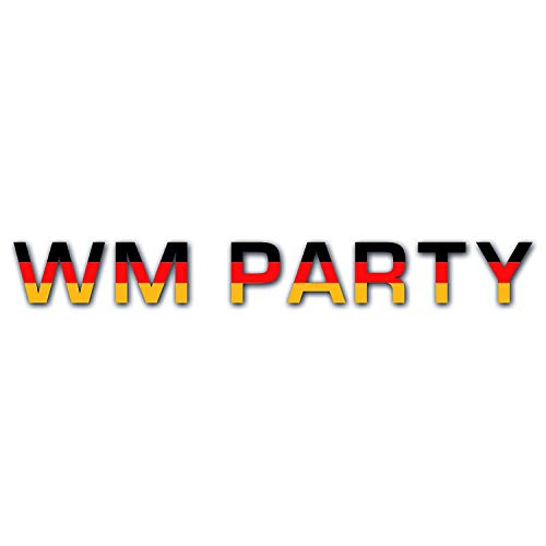 2D-Wanddekoration | Fußball-Weltmeisterschaft 2022 | Wandbuchstaben - Schrift | Schriftzug 'WM PARTY' WM 2022 Deutschland WM-Fanartikel Fußball | Farbe Schwarz Rot Gold , Größe:ca. 119x16 cm, Farbe:schwarz rot gold