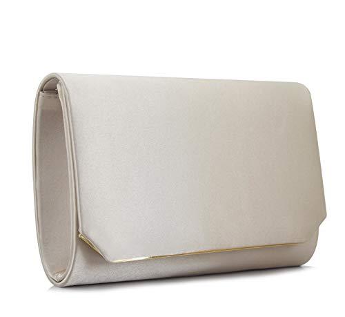 Vanessa & Melissa Elegante Damen Clutch, Abendtasche in klassischem Design mit Tragekette