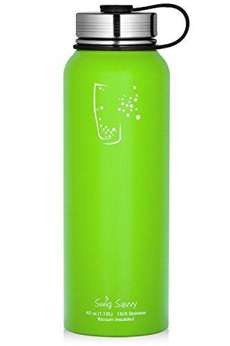 Swig Savvy - Botella de agua de acero inoxidable con aislamiento al...