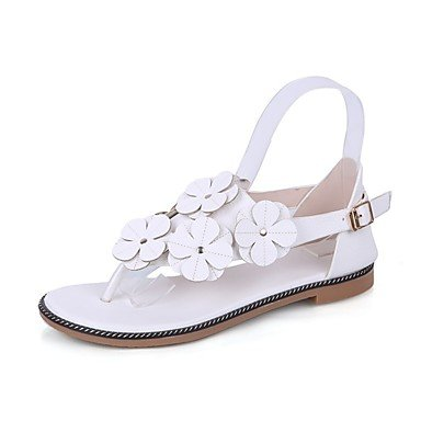 Zhenfu Confort Occasionnel Confort Pu Printemps Eté Femmes Applique Talon Plat Terre Brown Plaque Blanc Jaune Blanc