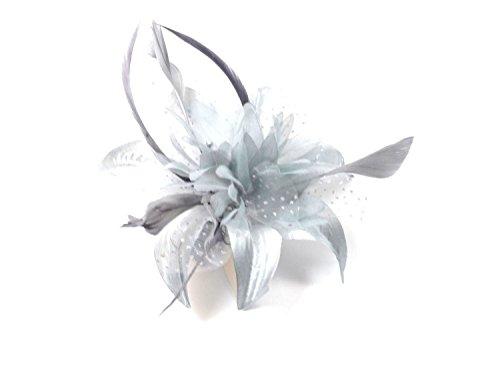 Bibi à plumes et nœud en tissu gris argenté sur peigne transparent Pour femme