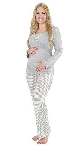 Pyjama pour maternité et allaitement, Ensemble de Pyjama de grossesse Gris, HERZMUTTER Grau Weiß