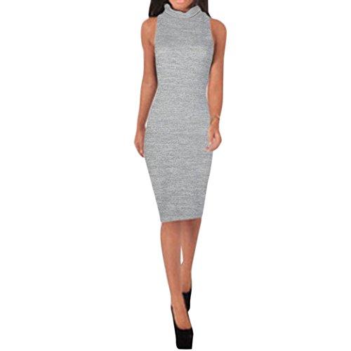 ?? Ularmo® Femmes Mini Robe Sans Manches Col Roulé Mince Section Slim Dames Cage Dress??