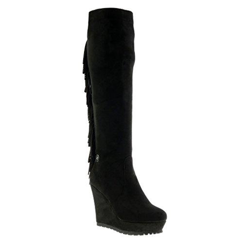 Angkorly - Chaussures Pour Femme Bottes - Bottes Compensées Femme Franges Strass Strass Talons Plateforme Compensée 11.5 Cm - Semelle Intérieure Doublée De Fourrure Noire