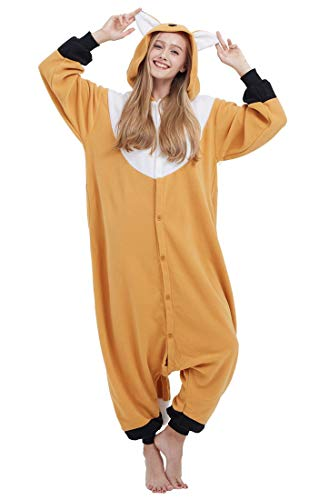 SAMGU Einhorn Adult Pyjama Cosplay Tier Onesie Body Nachtwäsche Kleid Overall Animal Sleepwear Erwachsene Orange Fuchs L