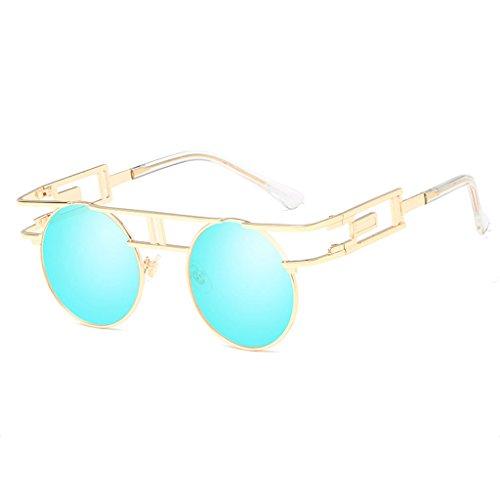 LX-LSX Sonnenbrille-im Freieneinkaufen-Fotografie-Blendschutzanti-UVmetallpersönlichkeits-Damen-Visier-Spiegel (Farbe : Gold Frame Blue Lens)