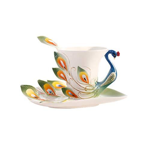 BESPORTBLE Keramik Tasse Emaille Porzellan Untertasse Löffel Kaffee Tee-Sets Moderne Kunst Hochzeit Pfau Geformte Tasse Kaffeetasse Teetasse Set Kreative Keramik Kaffeetasse Set