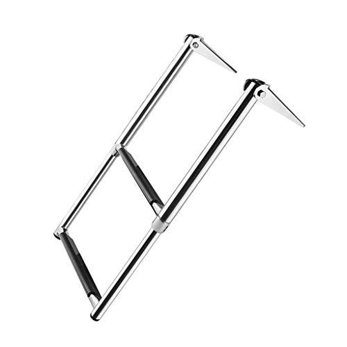 Gazechimp Pontón Escalera Telescópica de Acero Inoxidable 304 / Ajustable Escalera con 2 Peldaños...